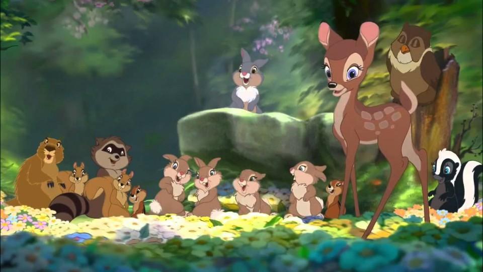 Bambi and Faline kiss